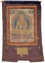 A THANKA OF THE CROWNED BUDDHA.
