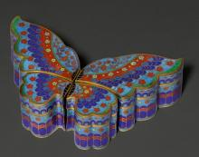 A FOUR-PART CLOISONNÉ BOX IN THE FORM OF A BUTTERFLY.