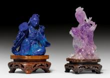 TWO FIGURES OF LADIES IN AMETHYST AND LAPIS LAZULI ON OPENWORK WOODEN BASES.