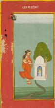 A MINIATURE PAINTING OF BHAIRAVI RAGINI IN A RED BORDER. India, Jodhpur, late 18th c. 22.3x10 cm. Inscription in devanagari.