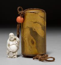 A GOLD LACQUER FIVE-PART INRÔ WITH IVORY NETSUKE DEPICTING HOTEI.