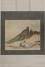 A PAINTING OF MOUNT FUJI IN THE STYLE OF KATSUSHIKA HOKUSAI (1760-1849).