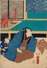FIVE COLOUR WOODBLOCK PRINTS BY UTAGAWA KUNISADA I AND ONE BY KUNIMASU.
