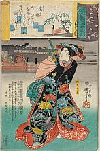 THREE COLOUR WOODBLOCK PRINTS BY UTAGAWA KUNISADA II AND KUNIYOSHI.