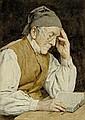 ANKER, ALBERT (1831 Ins 1910) Lesender Mann. 1908.
