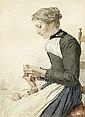 ANKER, ALBERT (1831 Ins 1910) Strickende junge