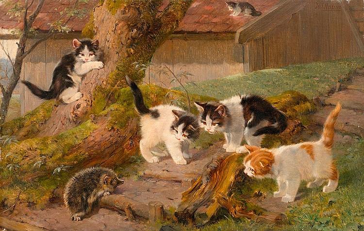 ADAM, JULIUS (1852 München 1913) Fünf Katzen und