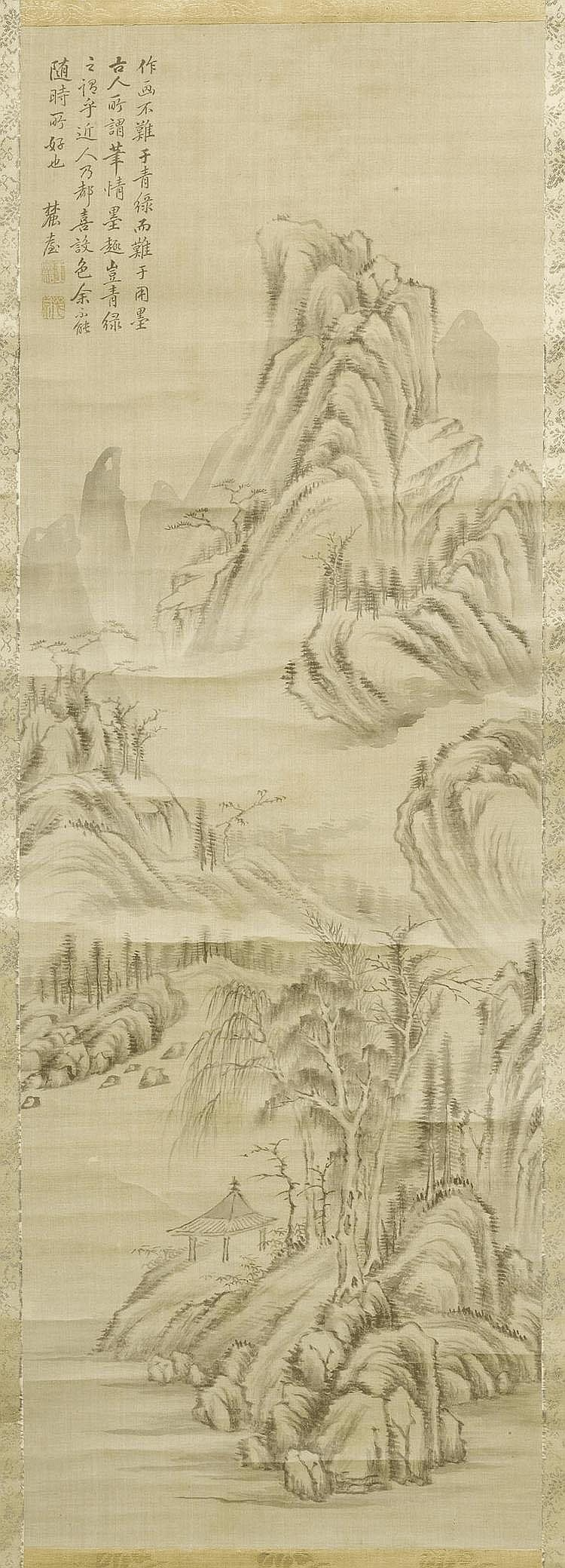 LANDSCAPE IN THE STYLE OF WANG YUANQI (1642-1715).