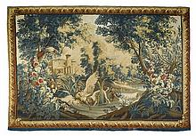 HUNTING VERDURE TAPESTRY Louis XV, signed MR