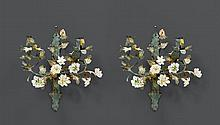 PAIR OF WALL APPLIQUES WITH PORCELAIN FLOWERS,