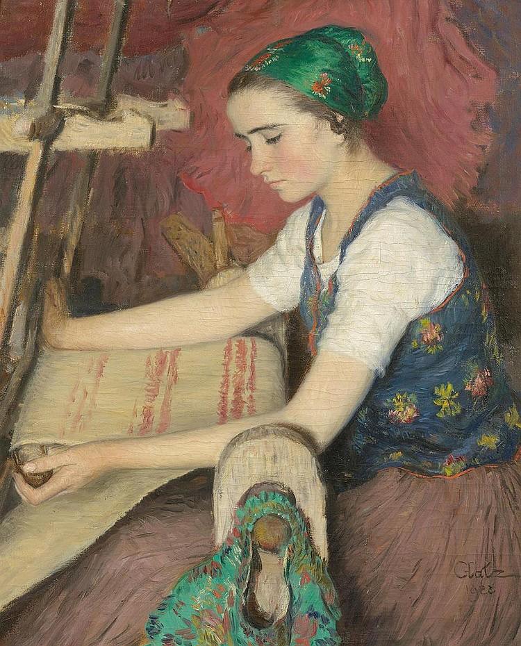 GLATZ, OSZKÁR (1872 Budapest 1958). Woman weaving.
