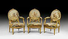 SET OF 3 TAPESTRY FAUTEUILS 'A LA REINE', late