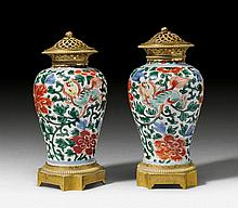 PAIR OF POTPOURRI VASES, in the style of Louis XV,