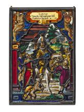 2 STAINED GLASS PANES DEPICTING EPISODES FROM THE PARABLE OF THE PRODIGAL SON,