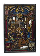2 STAINED GLASS PANES WITH DEPICTIONS FROM THE BIBLICAL STORIES SURROUNDING JOSEPH,