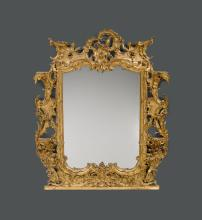 IMPORTANT MIRROR WITH CONSOLES FOR PORCELAIN FIGURES,