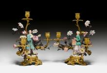 PAIR OF CANDELABRA WITH PORCELAIN FIGURES,