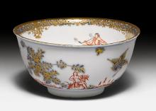BOWL WITH 'HAUSMALEREI' (HOME PAINTING),