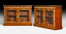 PAIR OF HALF-HEIGHT BOOKCASES,