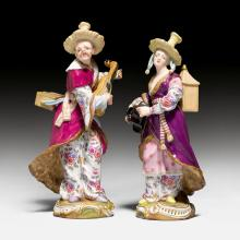 PAIR OF FIGURES OF MALABAR AND MALABARIN,