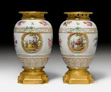 PAIR OF PORCELAIN VASES WITH BRONZE MOUNTS,
