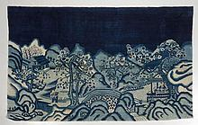 CHINA antique. Dark blue ground with people in a