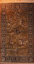 GHOM SILK. Green central field depicting a hunting