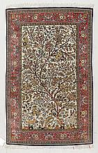 GHOM SILK. White ground with trees and animals in