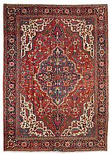 HERIZ antique. Red ground with a blue central