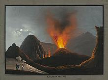 ITALY - NAPLES.- The crater of Vesuvius, 1844.