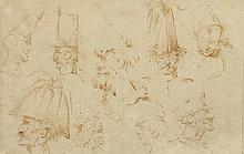 FRENCH SCHOOL, 18TH CENTURY Caricature studies of