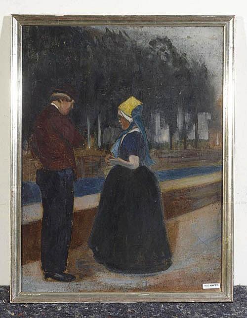 *PIET, FERNAND Paar auf der Strasse. Öl auf Leinwand. 54 x 41,5 cm.