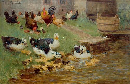 GRÄSSEL, FRANZ Enten und Hühner am Teich. Öl auf Holz. 21,6 x 33 cm.