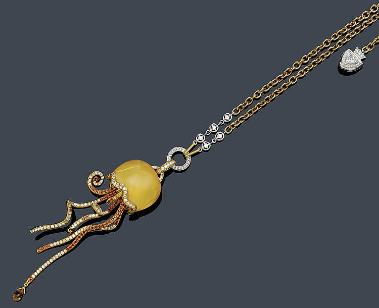 CITRINE, SAPPHIRE AND DIAMOND NECKLACE,