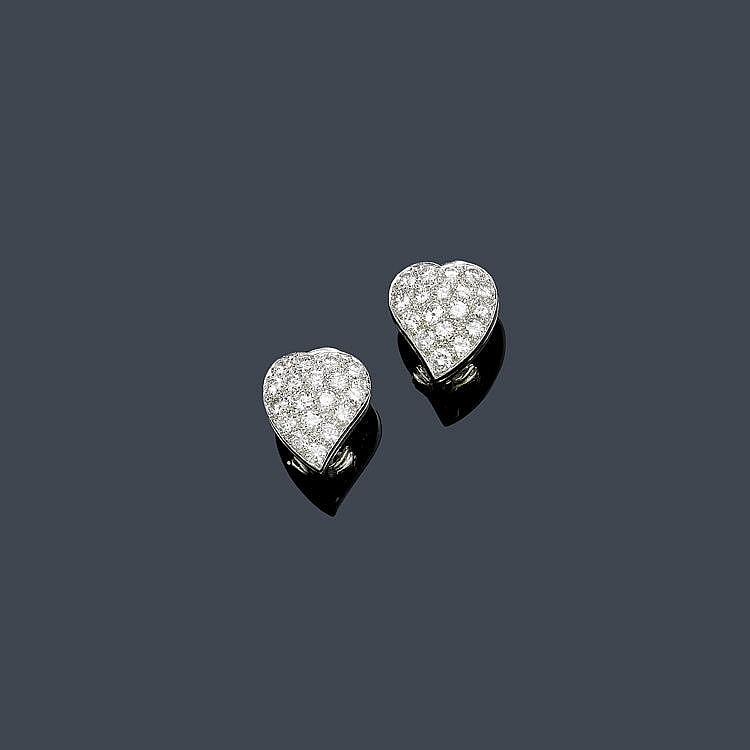 DIAMOND EAR CLIPS, VAN CLEEF & ARPELS. Platinum