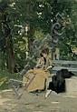 RAVEL, E. John. Banc à la Gabiule. Huile sur panneau. 43,5x32 cm. Signé en bas à droite. Craquelures en bas à droite., Edouard Ravel, Click for value