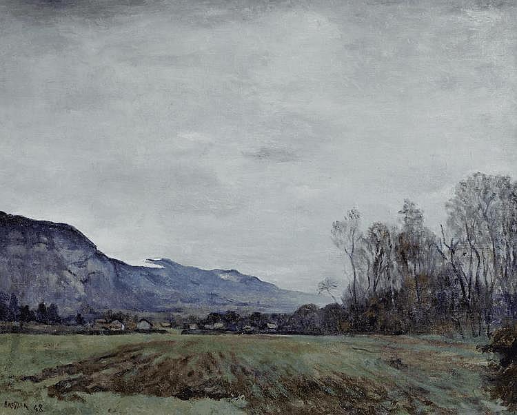 BRESSLER, ÉMILE (1886 - 1966) Vue dans la région de Genève Huile sur toile.
