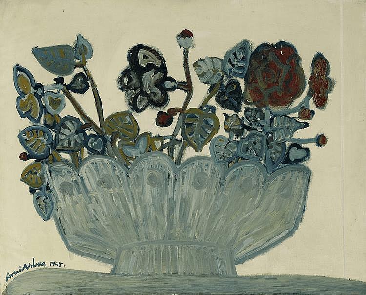 ARBAS, AVNI (1919 - 2003) Nature morte au bouquet. 1955 Huile sur toile.Cette oeuvre provient directement de l'artiste