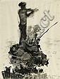 ARBAS, AVNI (1919 - 2003) Personnages à la pêche. 1958 Encre.Cette oeuvre provient directement de l'artiste, Avni Arbas, Click for value