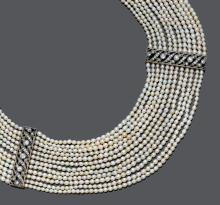 NATURAL PEARL AND DIAMOND NECKLACE WITH BRACELET, France, ca. 1930.
