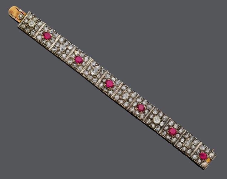 RUBY AND DIAMOND BRACELET, probably India, ca. 1940.