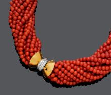 CORAL AND DIAMOND NECKLACE, ca. 1960.