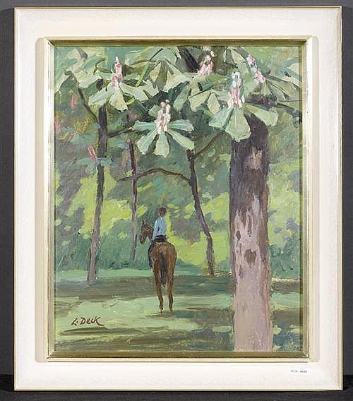 DECK, LEO (1908 Bern 1997) Frühling. Öl auf Malplatte. 45,5 x 37,5 cm.