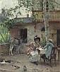PINCHART, EMILE AUGUSTE (Cambrai 1842 - 1924) Gespräch im Garten mit Esel im Hintergrund. Öl auf Leinwand. 40,5 x 33,5 cm., Auguste Pinchart, Click for value