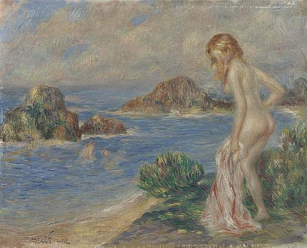 FAIVRE, ABEL (Lyon 1867 - 1945 Paris) Badende. Öl auf Leinwand. 19 x 24 cm.