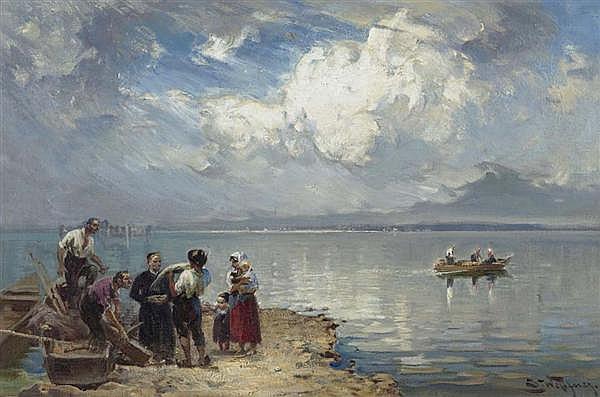 WOPFNER, JOSEPH (Schwaz 1843 - 1927 München) Chiemsee. Öl auf Leinwand. 34 x 51,5 cm.