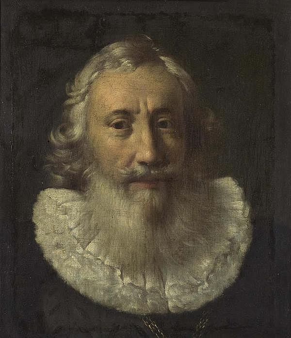 HOFFMANN, SAMUEL (Zürich 1591 - 1648 Frankfurt a.M.), zugeschrieben Portrait eines Mannes mit Bart (Bürgermeister). Öl auf Leinwand. 50