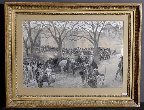 DUNKI, LOUIS (geboren in Genf 1856) Franzosen in Genf. Grisaille und Aquarell auf Papier. 42 x 62 cm (Lichtmass).