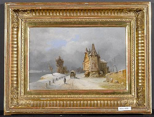 *BARISON, GIUSEPPE (1853 Triest 1931) Winterlandschaft mit burgartigem Haus und Fuhrwerk. 1889. Öl auf Pavatex. 17 x 28,5 cm.