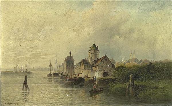 *ASTUDIN, NICOLAI VON (Moskau 1848 - 1925 Oberlahnstein) Stadtansicht mit einer Burg am Meer. Öl auf Leinwand. 28,5 x 44,7 cm.